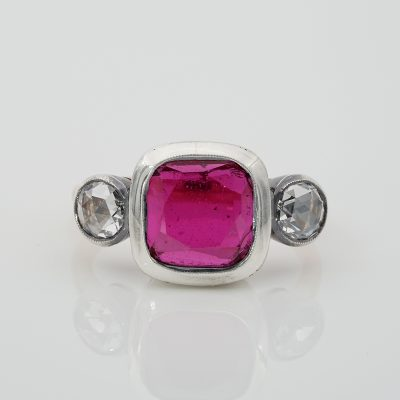 Outstanding Victorian 8.0 Ct Ruby Doublet Rose Cut Diamond Trilogy Ring