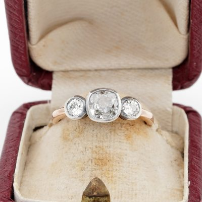 Victorian 1.20 Ct Old Cushion Cut Diamond Trilogy Engagement Ring 1900 ca