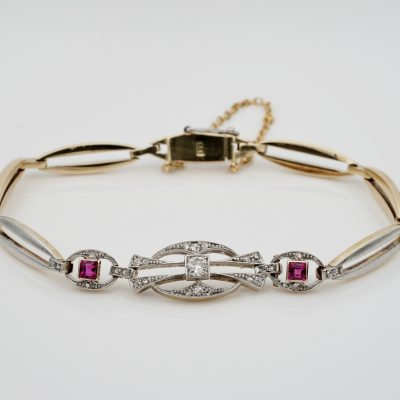 Delightful Edwardian Diamond Ruby Platinum Gold Bracelet