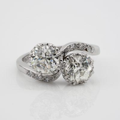 Magnificent Art Deco 2.45 Ct Diamond Twist Engagement  Platinum Ring