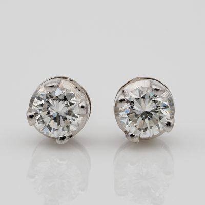 Sparkling Vintage .58 Ct Diamond Stud Earrings