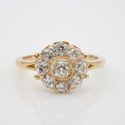 Charming Victorian 2.00 Ct Old Mine Diamond Quality Engagement Cluster Ring