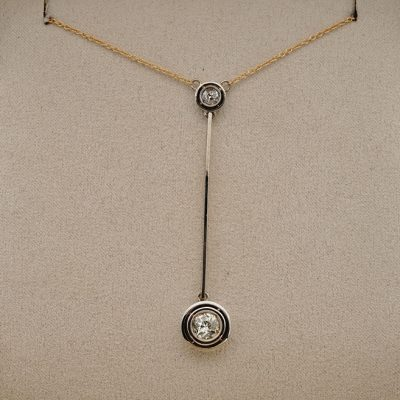 Early Deco 1.15 Ct Diamond VVS Target Drop Negligee Necklace
