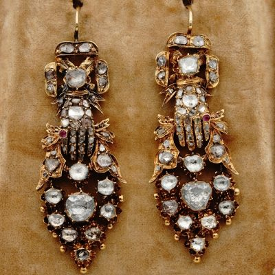 Georgian 8.20 Ct Diamond Sentimental Hand Museum Drop Earrings