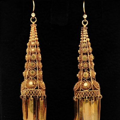 Georgian Regency 18 KT Gold Rare Cannetille Work Drop Earrings