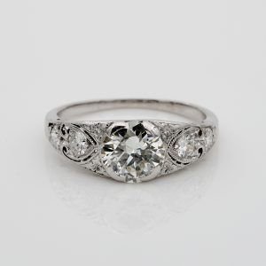 Art Deco Diamond 1.55 Ct Plus I VS2 Rare Platinum Engagement Ring