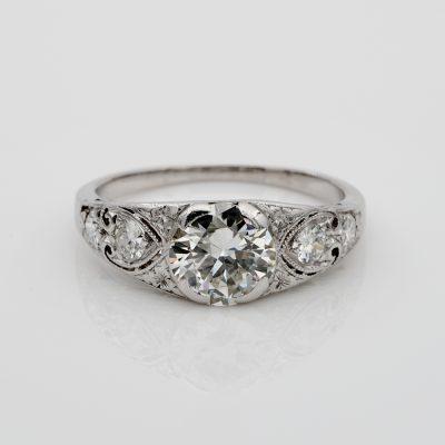 Art Deco Diamond 1.55 Ct Plus I VS2 Rare Platinum Engagement Ring