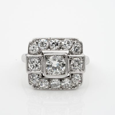 Spectacular French Art Deco 2.05 Ct Diamond Platinum Engagement Ring