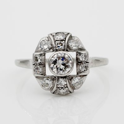 Beautiful Edwardian .95 Ct G/H VVS Diamond Platinum Rare Genuine Ring