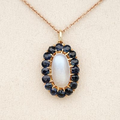 Late Victorian 1900 ca 3.95 Ct Moonstone 4.0 Ct Natural Sapphire Rare Vintage Pendant