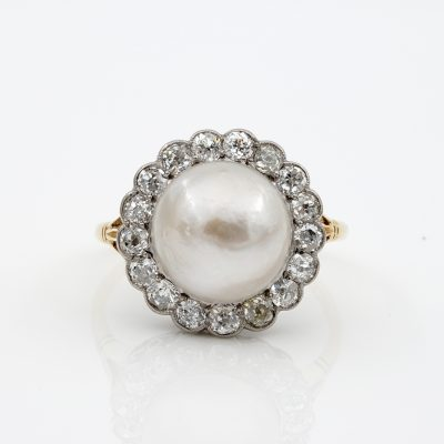 Edwardian Colossal 12 MM. Natural Split Pearl 1.60 Ct Diamond Engagement Ring