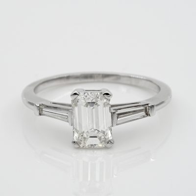 Spectacular 1.21 Ct Emerald Cut Diamond G VVS1 Tapered Diamond Side Engagement ring