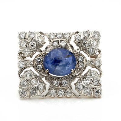 Antique Buccellati 17.0 Ct Natural Sapphire 11.40 Ct  Diamond Platinum Brooch