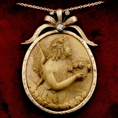 Spectacular Large Georgian Angel Lava Cameo Gold Pendant Italian Origin