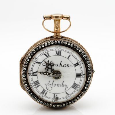Signed Abraham Colomby Georgian Verge watch rose cut diamond 20 Kt gold