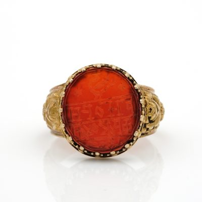 Antique Unisex 1803 Carnelian 18/19 KT Gold Repousse Signet Ring