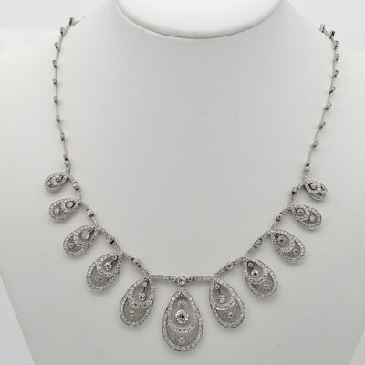 Authentic Edwardian 8.50 Ct Diamond Drop Platinum Necklace 1910 ca!