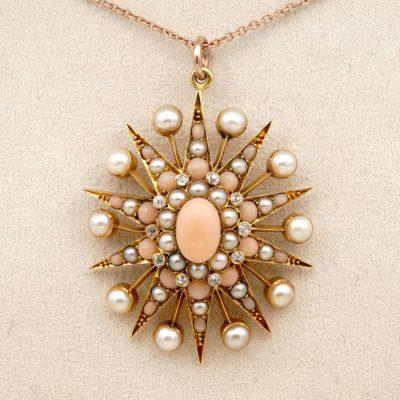 Celestial Victorian Angel Skin Coral Natural Split Pearl Rare 19 KT Star Pendant