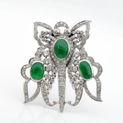 Impressive Art Deco 11.0 CT GCS certified jadeite Jade 12.40 Ct Diamond XL Butterfly Platinum Brooch