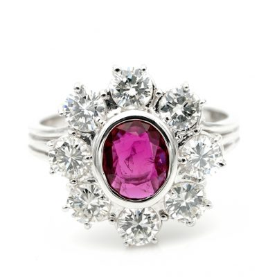 Sheer Quality Natural Thai Ruby 1.80 Ct F IF VVS Diamond Halo Ring