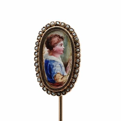 Early Victorian Young Boy Portrait Miniature Pearl 16 KT Gold Stick Pin