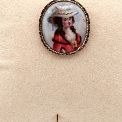 Georgian Beautiful Lady Portrait Enamel Miniature Large  Stick Pin 18 KT
