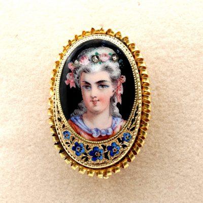 Antique 19th Century Painted Enamel Portrait Pendant Brooch 18 KT