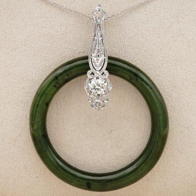 Art Deco Natural Green Jade 1.0 Ct Diamond Rare Hoop Pendant necklace