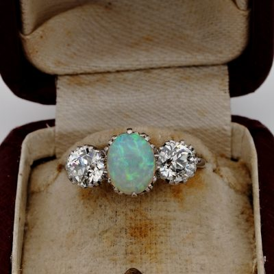 Rare Art Deco G VVS 1.65 Ct Diamond 1.25 Ct Opal  Platinum Trilogy Engagement ring