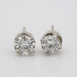 Art Deco 1.55 Ct Old European Cut Diamond G/H VS/SI Solitaire Stud Earrings
