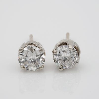 Stunning Art Deco 1.55 Ct Old European Cut Diamond G/H VS/SI Solitaire Stud Earrings