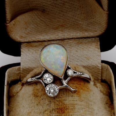Spectacular Art Nouveau 2.25 Ct Natural Australian Opal Diamond Rare Tiara Ring