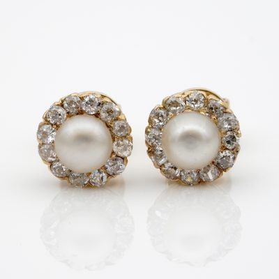 Gorgeous Victorian Salt Water Natural Pearl .75 CT Old Mine Cut Diamond Earrings