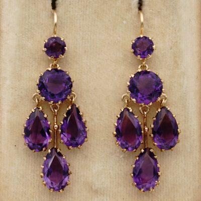 Victorian Siberian Amethyst Rare Chandelier Earrings