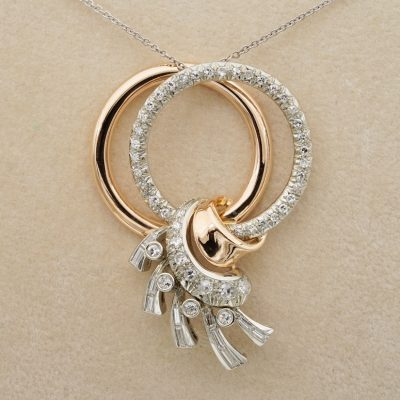 Late Art Deco 1.50 Ct Diamond  Double Eternity Hoop Bow Pendant plus Chain