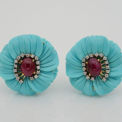 Vintage Large Carved Turquoise Flower Earrings Ruby Diamond Heart 18 KT Gold