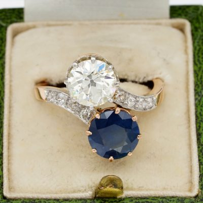 Edwardian French 1.70  VVS Diamond 2.30 Ct Natural Sapphire Engagement Twist Ring