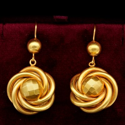 Rare Victorian Large Love Knot 19 KT Solid Gold Drop Earrings