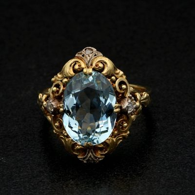 Authentic Edwardian 4.70 CT Natural Aquamarine Diamond Rare Ring