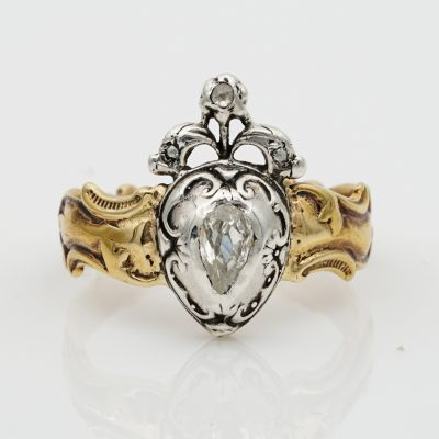 Rare Georgian Old Mine Diamond Heart 18 KT Ring
