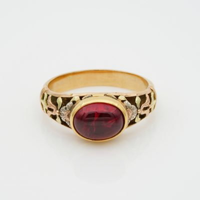 Victorian 3.0 Ct Natural Untreated Red Spinel Rare Secret Locket Ring