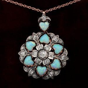 Victorian Rare 10.50 CT Heart Multi Opal 1.45 Ct Diamond Brooch Pendant