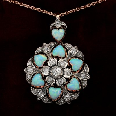 Victorian Rare 10.50 CT Heart Multi Opal 1.45 Ct Diamond Brooch Pendant