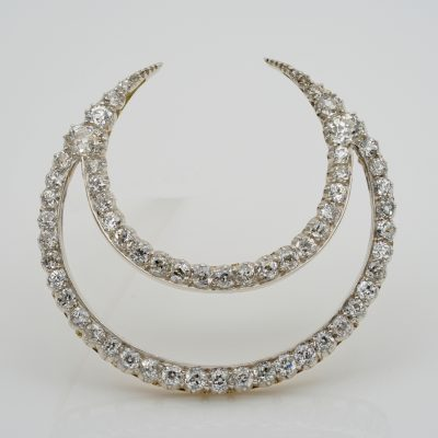 Victorian French 12.20 Ct Diamond Double Crescent Moon 18 KT Brooch