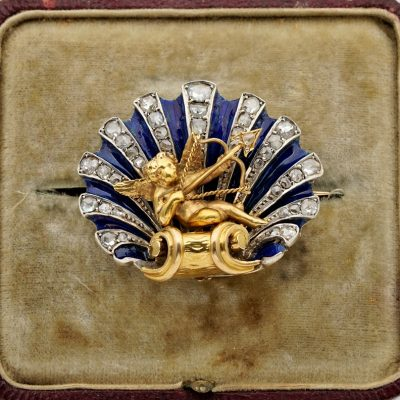 Stunning Victorian Diamond Enamel Cherub Sentimental Brooch Pendant