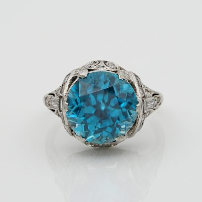 Very Rare Art Deco 11.0 Ct Natural Untreated Blue Zircon .90 Ct Diamond Platinum Ring