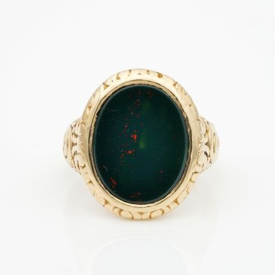 Outstanding Embossed Victorian Unisex Bloodstone Signet Ring 15 Kt gold