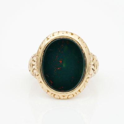 Outstanding Embossed Victorian Unisex Bloodstone Signet Ring 15 Kt gold