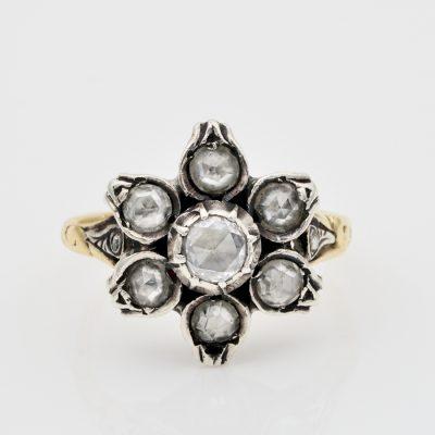 Georgian 1.10 Ct Rose Cut Diamond Rare Flower Ring