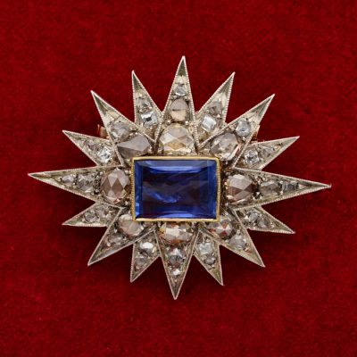 Victorian 4.50 Ct Natural NO HEAT Sapphire Diamond Star Brooch Pendant